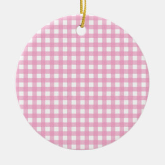 Pink and White Gingham Ceramic Ornament
