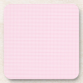 Pink and White Gingham Check Beverage Coaster