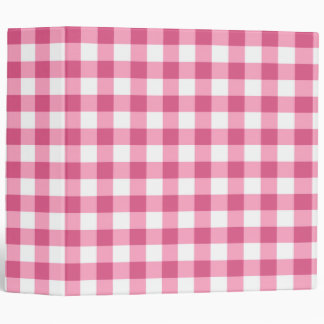 Pink And White Gingham Check Pattern 3 Ring Binder