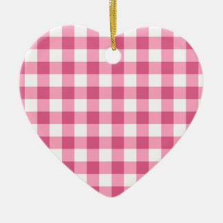 Pink And White Gingham Check Pattern Ceramic Ornament