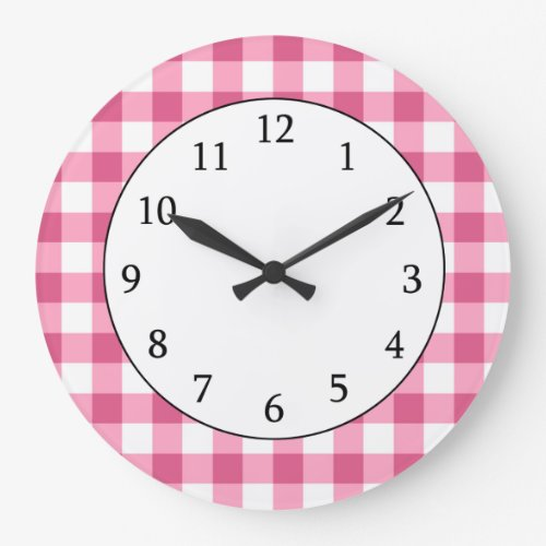 Pink And White Gingham Check Pattern Clock