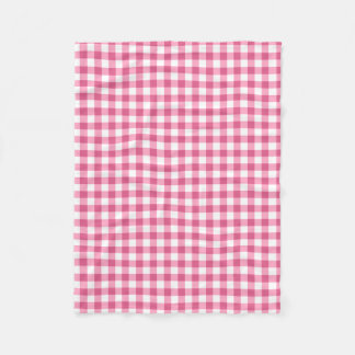 Pink And White Gingham Check Pattern Fleece Blanket