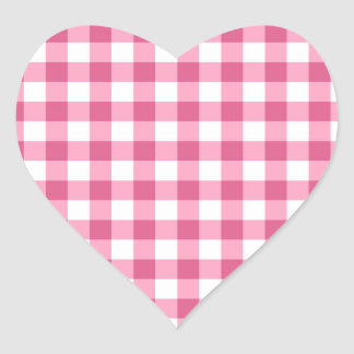 Pink And White Gingham Check Pattern Heart Sticker