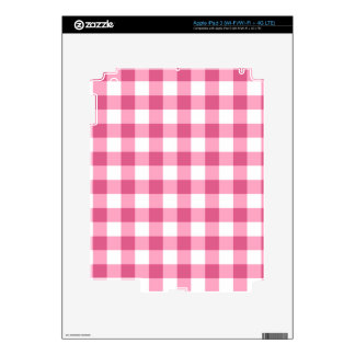 Pink And White Gingham Check Pattern iPad 3 Decal