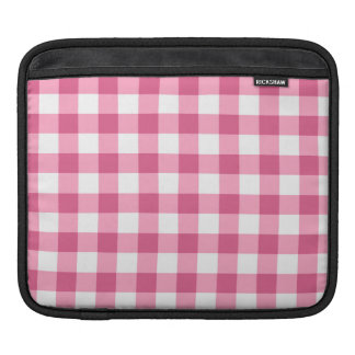 Pink And White Gingham Check Pattern iPad Sleeves