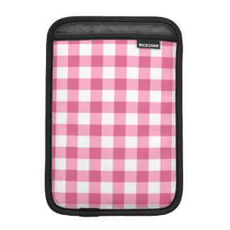 Pink And White Gingham Check Pattern iPad Mini Sleeves