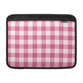 Pink And White Gingham Check Pattern Sleeve For MacBook Air