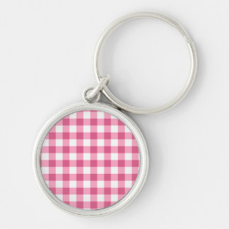 Pink And White Gingham Check Pattern Silver-Colored Round Keychain