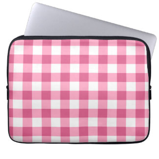 Pink And White Gingham Check Pattern Laptop Sleeve
