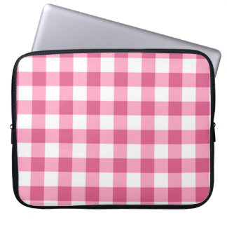 Pink And White Gingham Check Pattern Laptop Computer Sleeve