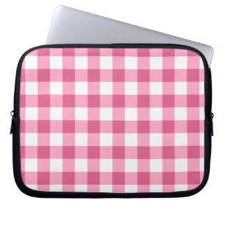 Pink And White Gingham Check Pattern Computer Sleeves