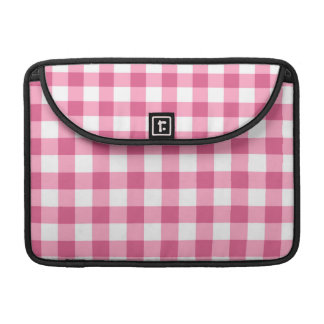 Pink And White Gingham Check Pattern Sleeves For MacBook Pro