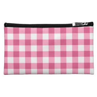 Pink And White Gingham Check Pattern Makeup Bag