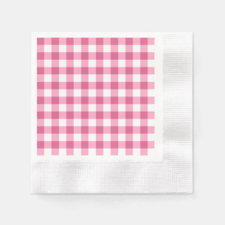 Pink And White Gingham Check Pattern Napkin