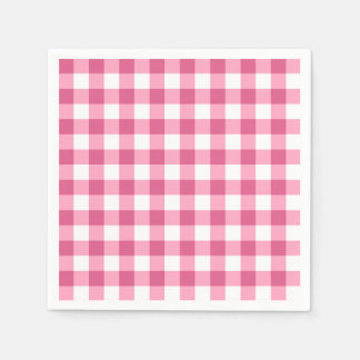 Pink And White Gingham Check Pattern Paper Napkin