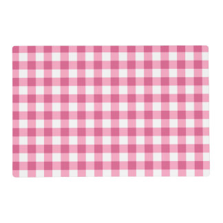 Pink And White Gingham Check Pattern Placemat