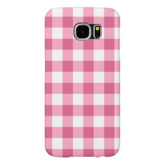 Pink And White Gingham Check Pattern Samsung Galaxy S6 Cases