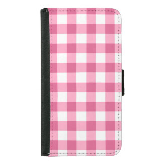 Pink And White Gingham Check Pattern Wallet Phone Case For Samsung Galaxy S5