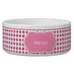 Pink and White Gingham Custom Dog Bowl