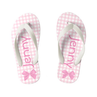 Pink and White Gingham Girls Flip Flops