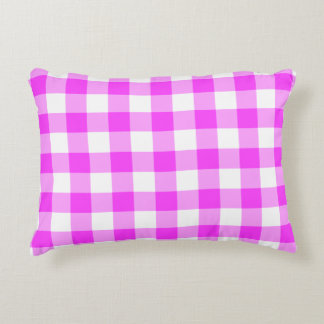 Pink and White Gingham Pattern Accent Pillow