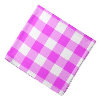 Pink and White Gingham Pattern Bandana