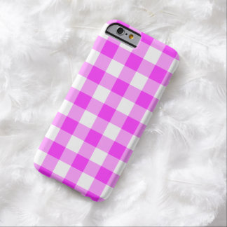 Pink and White Gingham Pattern Barely There iPhone 6 Case