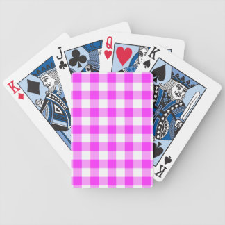 Pink and White Gingham Pattern Bicycle Playing Cards