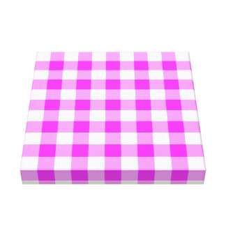 Pink and White Gingham Pattern Canvas Print
