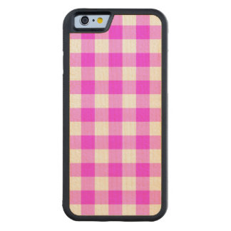 Pink and White Gingham Pattern Carved® Maple iPhone 6 Bumper