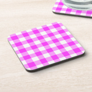 Pink and White Gingham Pattern Coaster
