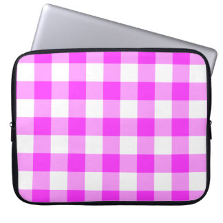 Pink and White Gingham Pattern Computer Sleeve