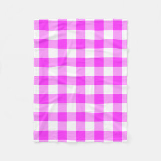Pink and White Gingham Pattern Fleece Blanket