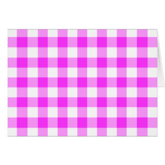 Pink and White Gingham Pattern Greeting Card