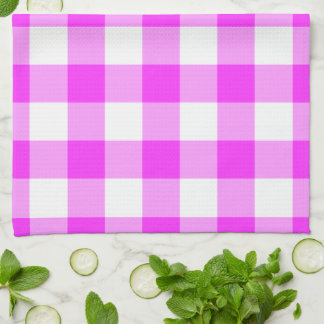 Pink and White Gingham Pattern Hand Towels
