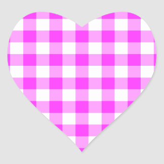 Pink and White Gingham Pattern Heart Sticker