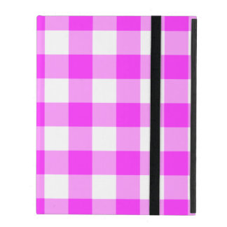 Pink and White Gingham Pattern iPad Cover