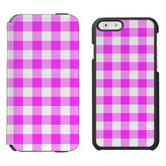 Pink and White Gingham Pattern iPhone 6/6s Wallet Case