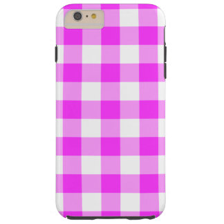 Pink and White Gingham Pattern iPhone 6 Plus Case