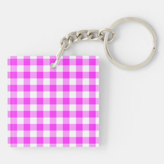 Pink and White Gingham Pattern Double-Sided Square Acrylic Keychain