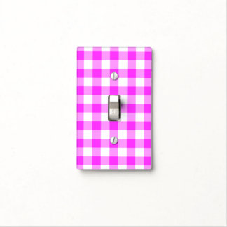 Pink and White Gingham Pattern Light Switch Cover
