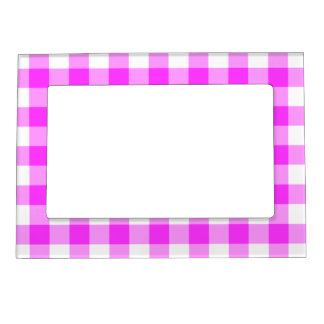 Pink and White Gingham Pattern Magnetic Frame