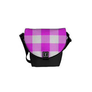 Pink and White Gingham Pattern Messenger Bags