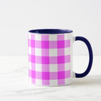 Pink and White Gingham Pattern Mug