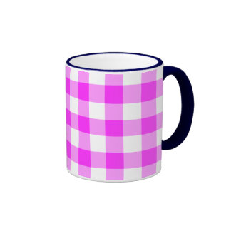 Pink and White Gingham Pattern Coffee Mugs