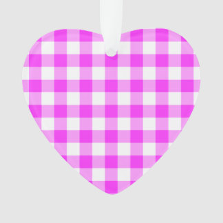 Pink and White Gingham Pattern Ornament