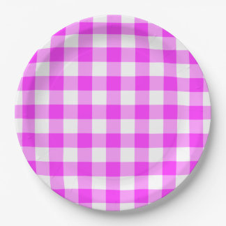 Pink and White Gingham Pattern Paper Plate