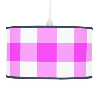 Pink and White Gingham Pattern Pendant Lamp