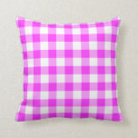 Pink and White Gingham Pattern Pillow