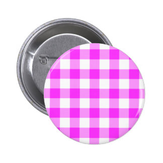 Pink and White Gingham Pattern Pinback Button